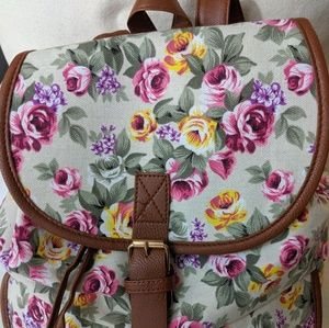 Pink Haley Floral Backpack in Cream Floral
